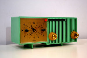 SOLD! - July 3, 2019 - Beautiful Sea Green Retro 1956 Motorola 56CS4A Tube AM Clock Retro Radio - [product_type} - Motorola - Retro Radio Farm