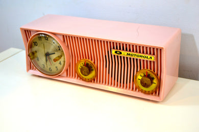 Pink Velvet 1957 Motorola 57CS Port Hole Tube AM Clock Radio Totally Restored! - [product_type} - Motorola - Retro Radio Farm