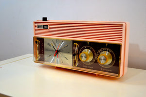 Rosata Pink and Brown Mid Century Retro Vintage 1964 Arvin Model 52R43 AM Tube Clock Radio Rare! - [product_type} - Arvin - Retro Radio Farm