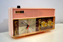 Load image into Gallery viewer, Rosata Pink and Brown Mid Century Retro Vintage 1964 Arvin Model 52R43 AM Tube Clock Radio Rare! - [product_type} - Arvin - Retro Radio Farm