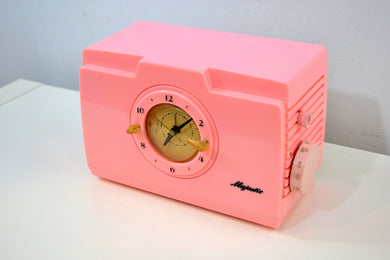 Pelican Pink Mid Century Deco 1952 Majestic Unknown Model Clock Radio Cream Puff! - [product_type} - Majestic - Retro Radio Farm