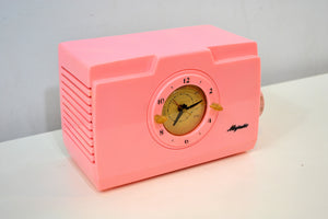 SOLD! - Dec 19, 2019 - Pelican Pink Mid Century Deco 1952 Majestic Unknown Model Clock Radio Cream Puff! - [product_type} - Majestic - Retro Radio Farm