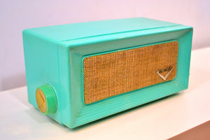 Robins Egg Blue Retro Jetsons 1956 Dumont Model 1120 Tube AM Radio Totally Restored! - [product_type} - Dumont - Retro Radio Farm