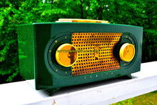 Load image into Gallery viewer, SOLD! - Sept 4, 2018 - BLUETOOTH MP3 UPGRADE ADDED - Candy Apple Green Mid Century Retro Jetsons Vintage 1955 Zenith Model R511F AM Tube Radio Da Bomb!