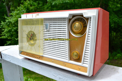 CORAL PINK Mid Century 1959 Fleetwood Model 5018 AM Tube Clock Radio Bells And Whistles!