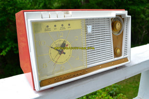 SOLD! - Mar 27, 2019 - Coral Pink 1959 Fleetwood Model 5018 AM Tube Clock Radio - [product_type} - Fleetwood - Retro Radio Farm