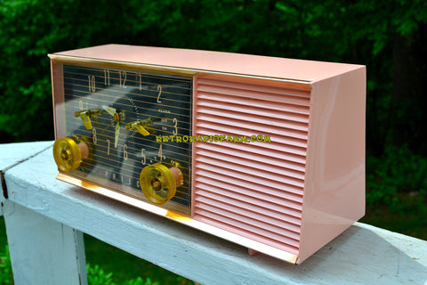 CHIFFON PINK Mid Century Retro 1957 Philco Model G753-124 Tube AM Clock Radio Totally Restored and Sounds Great!