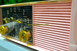 SOLD! - Nov 7, 2018 - Chiffon Pink Mid Century Retro 1959 Philco Model G753-124 Tube AM Clock Radio - [product_type} - Philco - Retro Radio Farm