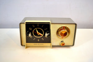 SOLD! - Sept 25, 2019 - Pewter and Ivory 1959 General Electric Model C-405 Tube AM Clock Radio Excellent Original Condition! - [product_type} - General Electric - Retro Radio Farm