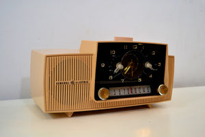 Buff Pink Mid Century 1959 General Electric Model C-4340 Tube AM Clock Radio Totally Restored! - [product_type} - General Electric - Retro Radio Farm
