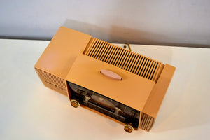 SOLD! - July 8, 2019 - Buff Pink Mid Century 1959 General Electric Model C-4340 Tube AM Clock Radio Totally Restored! - [product_type} - General Electric - Retro Radio Farm
