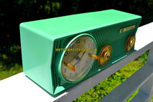Load image into Gallery viewer, SOLD! - July 9, 2018 - SEA GREEN BEAUTY Mid Century 1957 Motorola 57CS Tube AM Clock Radio Sounds Great!