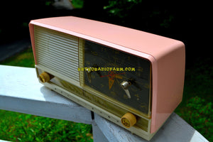 SOLD! - Sept 18, 2018 - Beautiful Powder Pink And White Retro Jetsons 1956 RCA Victor 9-C-71 Tube AM Clock Radio Works Great!