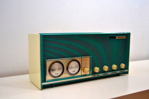 SOLD! - June 28, 2019 - Mariner Teal Vintage 1966 Silvertone 6019 AM/FM Tube Radio Near Mint and Gimmicky Beyond Comparison!