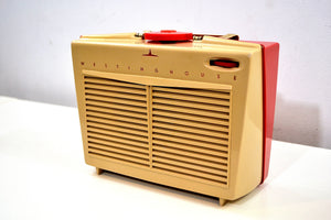 SOLD! - Feb 29, 2020 - SO CUTE! Red and Beige Vintage 1954 Westinghouse Model H-598P4 AM Tube Retro Radio No Cracks Works Great! - [product_type} - Westinghouse - Retro Radio Farm