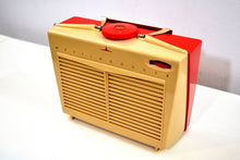 Load image into Gallery viewer, SO CUTE! Red and Beige Vintage 1954 Westinghouse Model H-598P4 AM Tube Retro Radio No Cracks Works Great! - [product_type} - Westinghouse - Retro Radio Farm