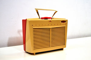 SO CUTE! Red and Beige Vintage 1954 Westinghouse Model H-598P4 AM Tube Retro Radio No Cracks Works Great! - [product_type} - Westinghouse - Retro Radio Farm