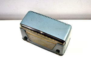 Blue Ice Metallic Vintage Bakelite 1948 Silvertone 8005 AM Tube Radio Early Metallic Finish Rare and Expensive Color Back Then! - [product_type} - Silvertone - Retro Radio Farm
