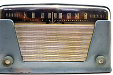 Load image into Gallery viewer, Blue Ice Metallic Vintage Bakelite 1948 Silvertone 8005 AM Tube Radio Early Metallic Finish Rare and Expensive Color Back Then! - [product_type} - Silvertone - Retro Radio Farm