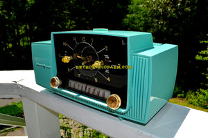 Seafoam Green Mid Century Jetsons 1957 General Electric Model 912D Tube AM Clock Radio Sweet! - [product_type} - General Electric - Retro Radio Farm