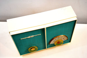 SOLD! - Aug 15, 2019 - Retro Wonder Turquoise And White 1958 Philco H836-124 AM Tube Radio Restored and Rare! - [product_type} - Philco - Retro Radio Farm