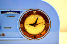 Load image into Gallery viewer, SOLD! - Dec 5, 2019 - Periwinkle Blue Golden Age Art Deco 1948 Plymouth Model 1600 AM Tube Clock Radio Totally Restored! - [product_type} - Plymouth - Retro Radio Farm