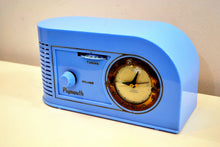 Load image into Gallery viewer, Periwinkle Blue Golden Age Art Deco 1948 Plymouth Model 1600 AM Tube Clock Radio Totally Restored! - [product_type} - Plymouth - Retro Radio Farm