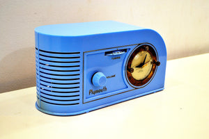 Periwinkle Blue Golden Age Art Deco 1948 Plymouth Model 1600 AM Tube Clock Radio Totally Restored! - [product_type} - Plymouth - Retro Radio Farm