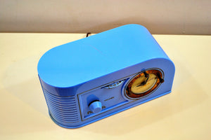 SOLD! - Dec 5, 2019 - Periwinkle Blue Golden Age Art Deco 1948 Plymouth Model 1600 AM Tube Clock Radio Totally Restored! - [product_type} - Plymouth - Retro Radio Farm