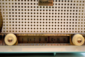 Chalfonte Blue Retro Jetsons 1960 Truetone D2801 Tube AM Clock Radio Totally Restored! - [product_type} - Truetone - Retro Radio Farm