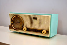 Load image into Gallery viewer, Chalfonte Blue Retro Jetsons 1960 Truetone D2801 Tube AM Clock Radio Totally Restored! - [product_type} - Truetone - Retro Radio Farm