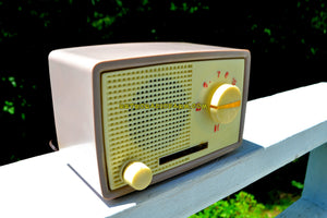 SOLD! - Dec 3, 2018 - 1959 Taupe Midget Alrad Japanese Post War Tube AM Radio! It's Rad! - [product_type} - Alrad - Retro Radio Farm