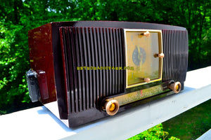 SOLD! - July 24, 2018 - BLUETOOTH MP3 READY - Burgundy Swirl 1955 General Electric Model 546PH AM Clock Radio Works Great! - [product_type} - General Electric - Retro Radio Farm