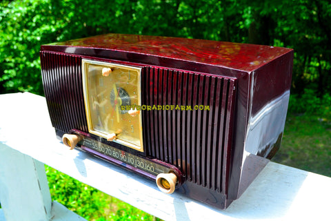 SOLD! - July 24, 2018 - BLUETOOTH MP3 READY - Burgundy Swirl 1955 General Electric Model 546PH AM Clock Radio Works Great!