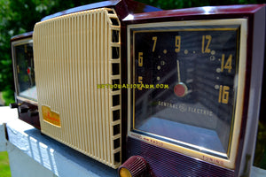 SOLD! - Sept 30, 2018 - Espresso 1955 General Electric Model 920 Tube AM Clock Radio Excellent Plus! - [product_type} - General Electric - Retro Radio Farm