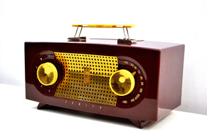 "Maroon 1955 Zenith ""Broadway"" Model R511R AM Tube Radio - Give My Regards! - [product_type} - Zenith - Retro Radio Farm"