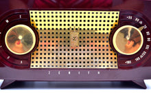 "Load image into Gallery viewer, SOLD! - July 30, 2019 - Maroon 1955 Zenith ""Broadway"" Model R511R AM Tube Radio - Give My Regards! - [product_type} - Zenith - Retro Radio Farm"