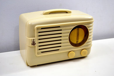 Ivory 1949 Emerson Model 581 Plaskon AM Tube Radio Golden Age Beauty! - [product_type} - Emerson - Retro Radio Farm