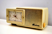 Load image into Gallery viewer, SOLD! - Aug 10, 2019 - Palace Ivory and Gold 1959 Bulova Model 100 Tube AM Clock Radio Excellent Condition! - [product_type} - Bulova - Retro Radio Farm