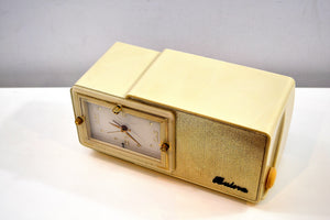 SOLD! - Aug 10, 2019 - Palace Ivory and Gold 1959 Bulova Model 100 Tube AM Clock Radio Excellent Condition! - [product_type} - Bulova - Retro Radio Farm