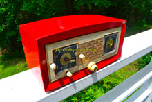 Load image into Gallery viewer, SOLD! - Nov. 28, 2018 - Cardinal Red 1950 Raytheon Model CR-43 Tube AM Clock Radio Excellent Plus Condition and RARE! - [product_type} - Raytheon - Retro Radio Farm