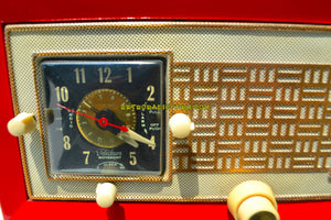 SOLD! - Nov. 28, 2018 - Cardinal Red 1950 Raytheon Model CR-43 Tube AM Clock Radio Excellent Plus Condition and RARE! - [product_type} - Raytheon - Retro Radio Farm