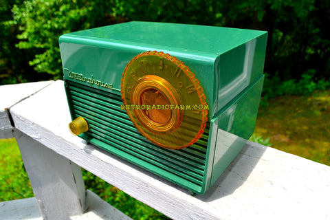 LEAF GREEN 1953 Westinghouse H-380T5 AM Tube Radio Sounds Great!