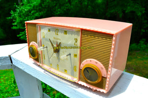 Fifth Ave Pink Vintage Mid Century 1957 Bulova Model 170 Tube AM Clock Radio Simply Fabulous! - [product_type} - Bulova - Retro Radio Farm
