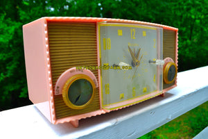 SOLD! - Nov 9, 2018 - Fifth Ave Pink Vintage Mid Century 1957 Bulova Model 170 Tube AM Clock Radio Simply Fabulous! - [product_type} - Bulova - Retro Radio Farm