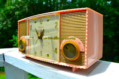 FIFTH AVE PINK Vintage Mid Century 1957 Bulova Model 170 Tube AM Clock Radio Simply Fabulous!