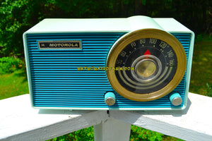 SOLD! - Aug 3, 2018 - BLUETOOTH MP3 UPGRADE ADDED - POSEIDON BLUE Mid Century Vintage 1963 Motorola Model A18B49 AM Tube Radio Excellent Condition! - [product_type} - Motorola - Retro Radio Farm
