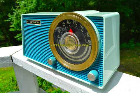 SOLD! - Aug 3, 2018 - BLUETOOTH MP3 UPGRADE ADDED - POSEIDON BLUE Mid Century Vintage 1963 Motorola Model A18B49 AM Tube Radio Excellent Condition!
