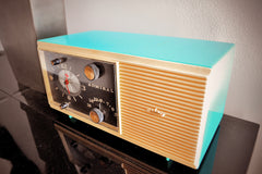 AQUA BLUE 1959 Admiral Y3048 Tube AM Radio Clock Alarm Works Great!