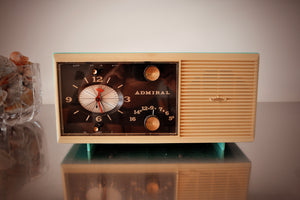 Aqua Blue 1959 Admiral Y3048 Tube AM Radio Clock Alarm Works Great! - [product_type} - Admiral - Retro Radio Farm